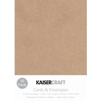 Kaisercraft 10 Pack Cards and Envelopes C6 Kraft