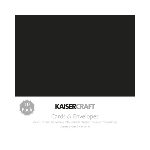 Kaisercraft 10 Pack Cards and Envelopes Sq Black