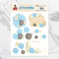 Couture Creations 3D Decoupage Set New Adventures Postcard & Flowers