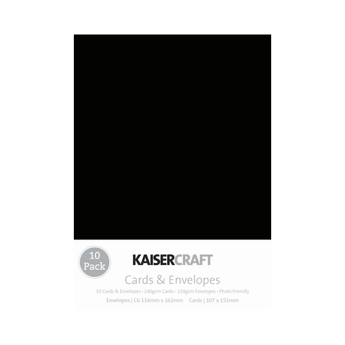 Kaisercraft 10 Pack Cards and Envelopes C6 Black